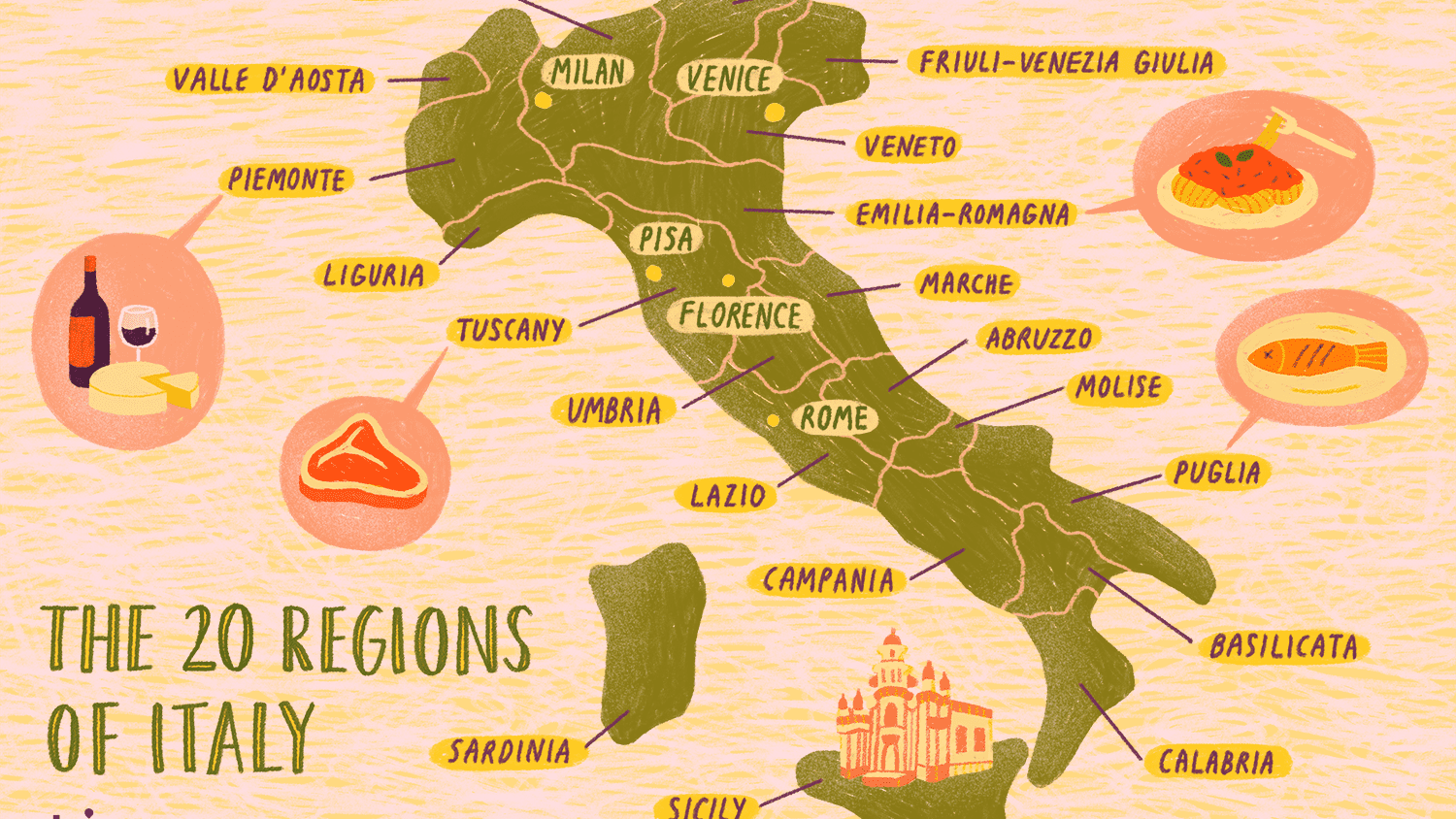 Map Of Italy With Regions Map of the Italian Regions