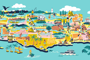 Illustration of the US map with best beach picks popping off the map