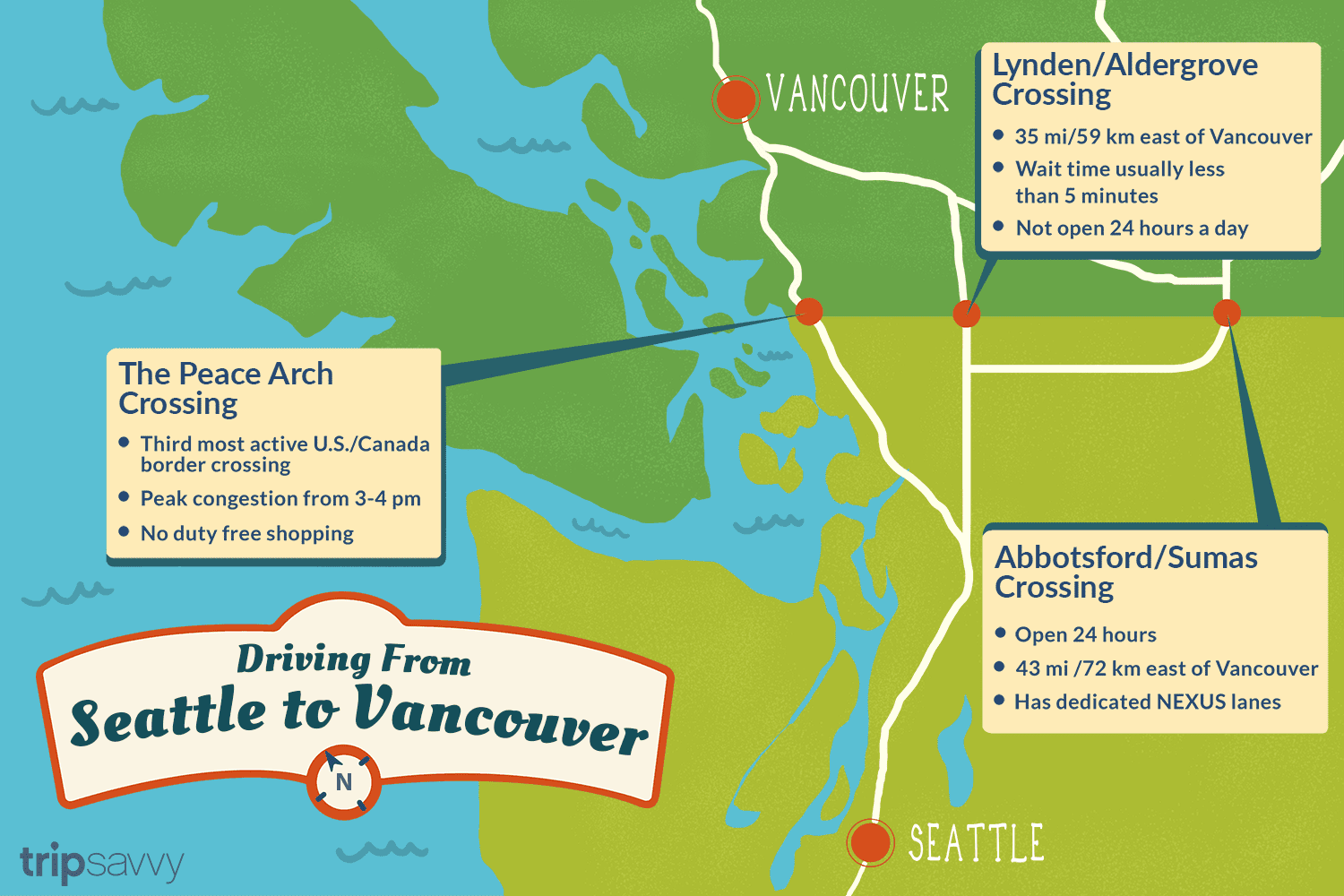 Map Of Seattle And Canada Seattle to Vancouver Canadian Border Crossing
