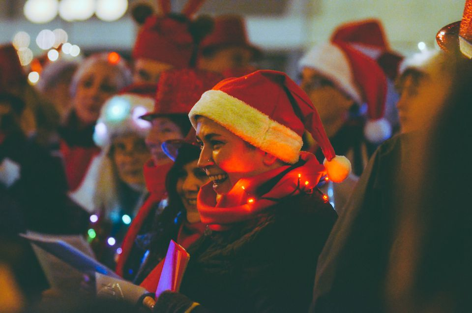 Choirs singing at Yule Duel in Vancouver, BC