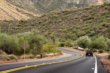 Driving on Wilderness Highway NE of Phoenix Usery Mountain Regional Park NE of Phoenix