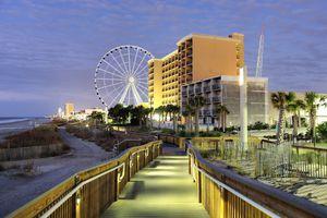 Myrtle Beach Oceanfront Boardwalk and Promenade at night