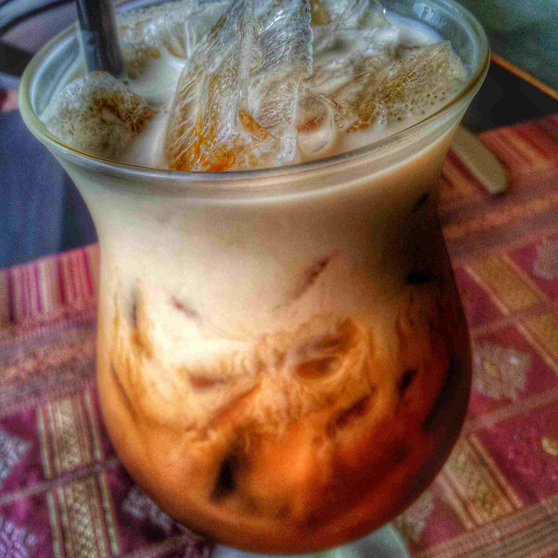 A glass of Thai iced tea