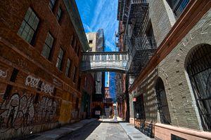 Alley Street scene, Historic Tribeca, Lower Manhattan, New York City