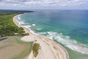 Aerial view of beach in Costa Rica
