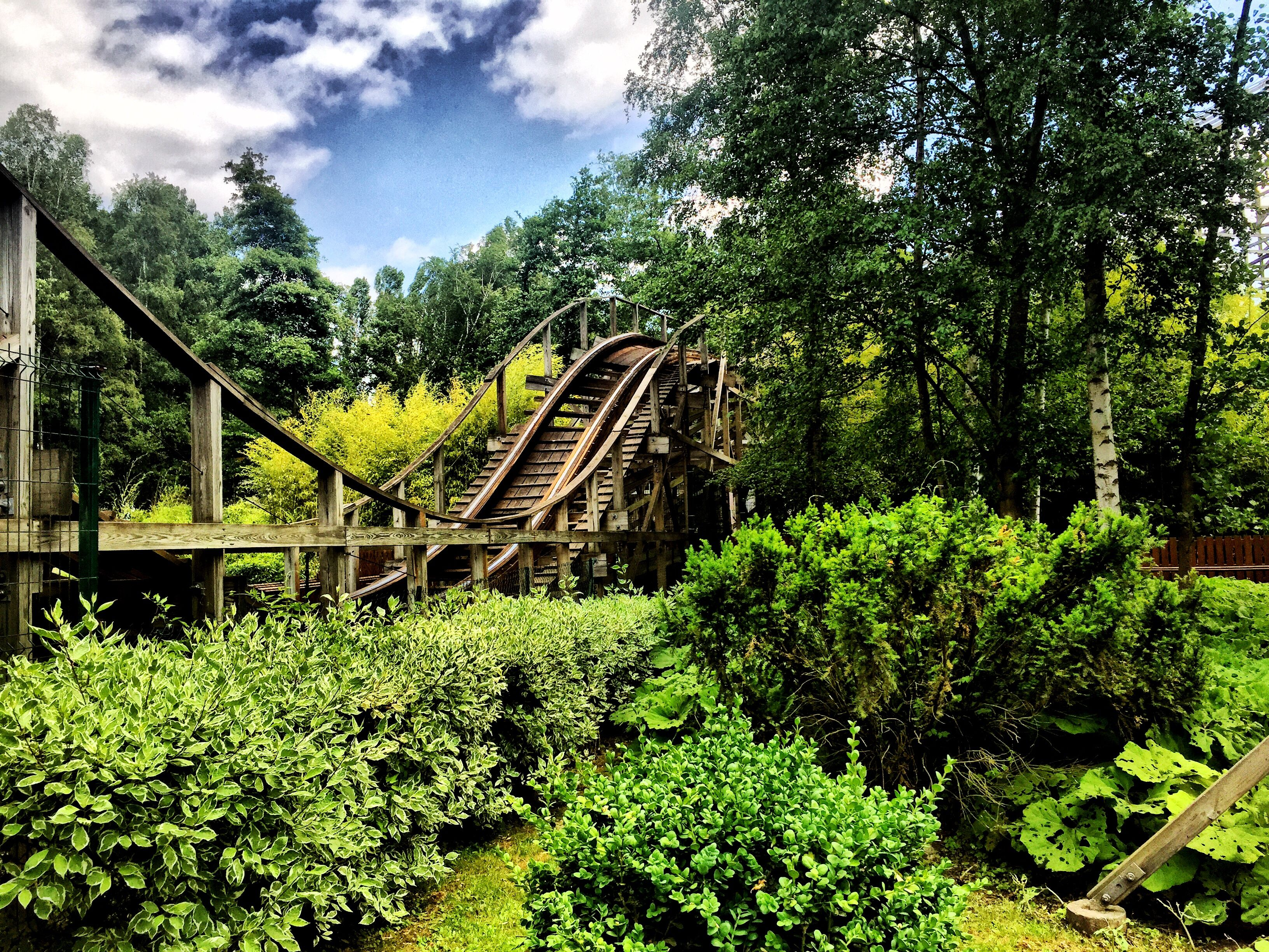 Rollercoaster Track Amidst Trees And Plants In Parc Asterix