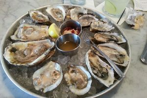 A platter of oysters at an oyster bar