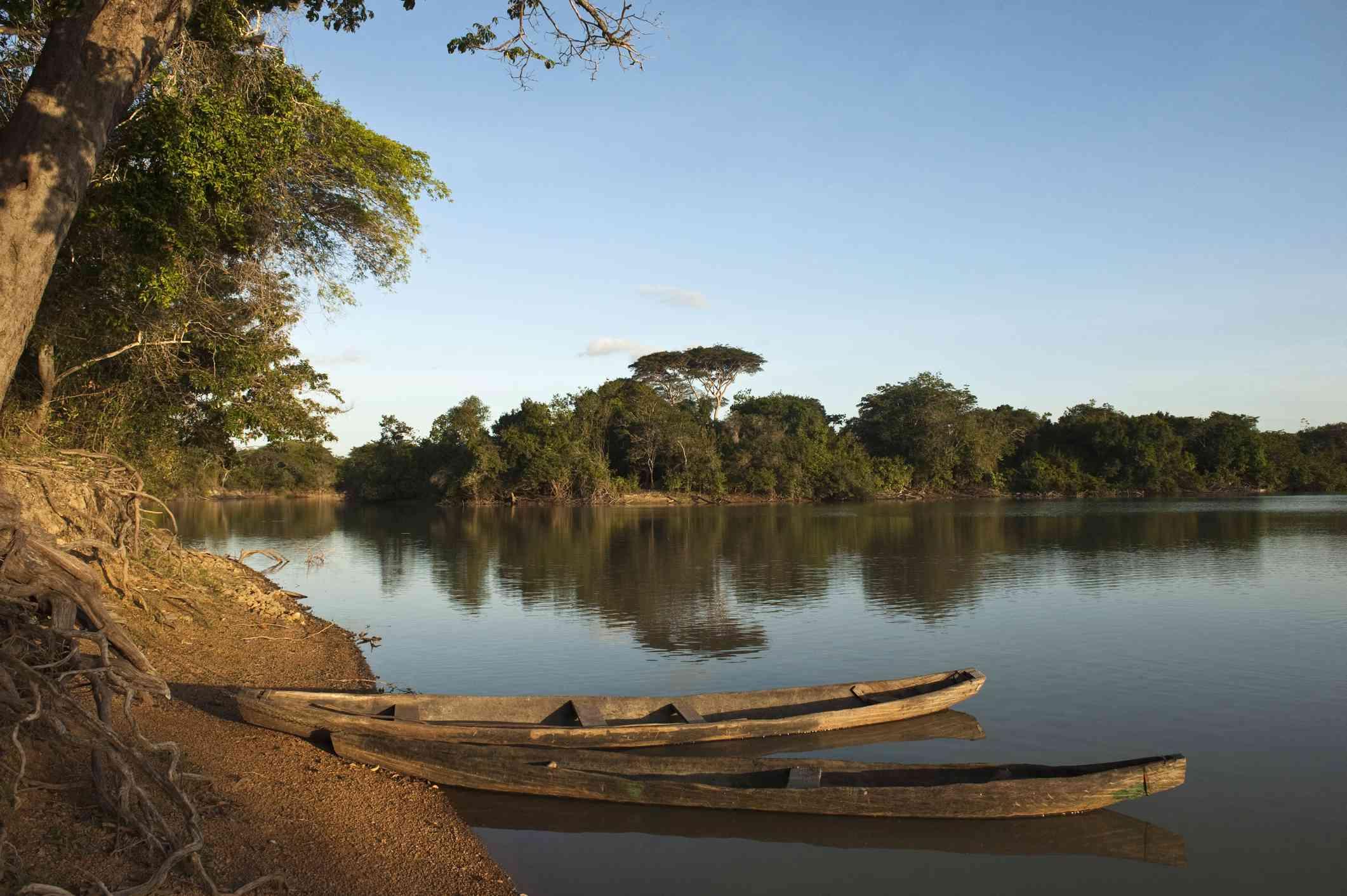 Dugout Canoe on the shore of Rupununi river, Guyana