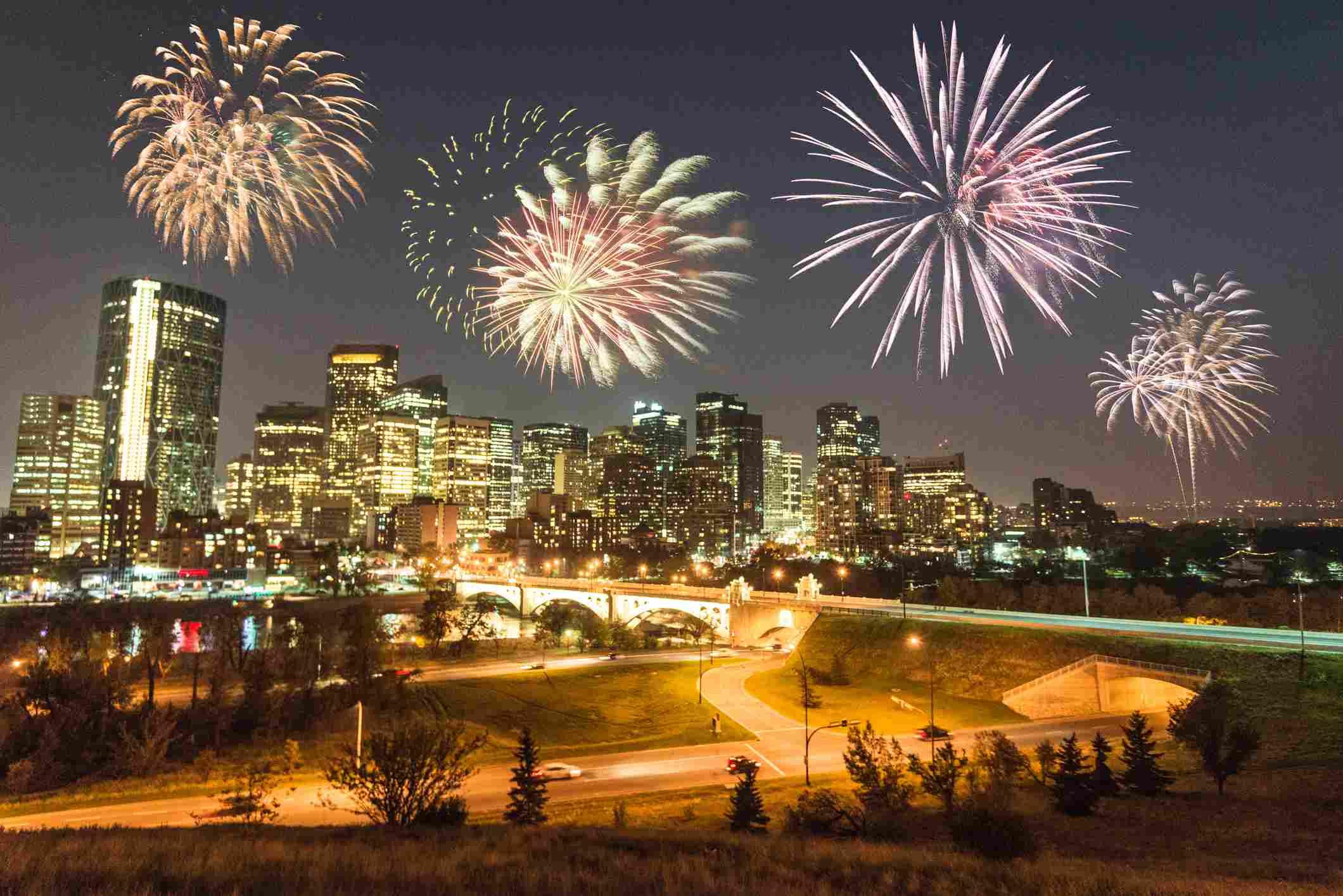 New Years fireworks celebrations in Calgary, Alberta
