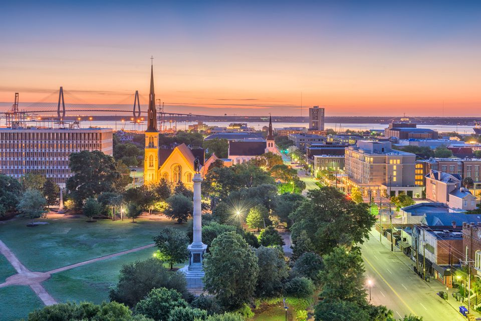 The city of Charleston, South Carolina in the evening