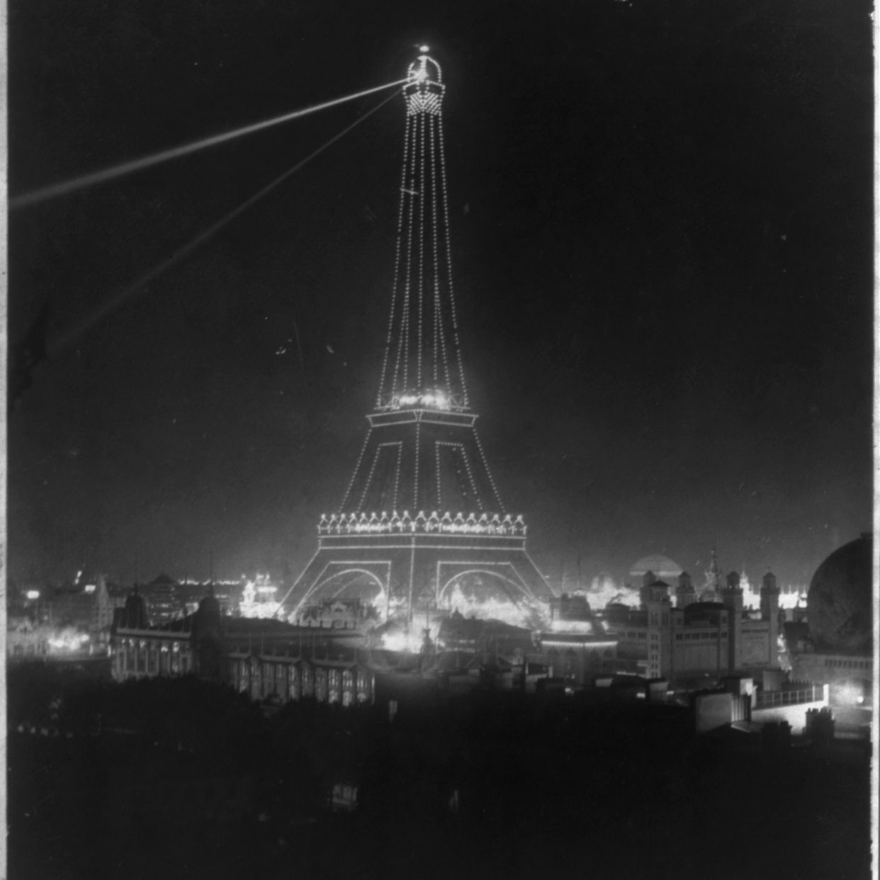 The Eiffel Tower shot for the Exposition Universelle (Universal Exhibition) of 1900.