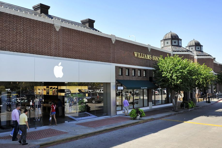 Apple store and william-sonoma at the outdoor University Park Village shopping center in Fort Worth, Texas