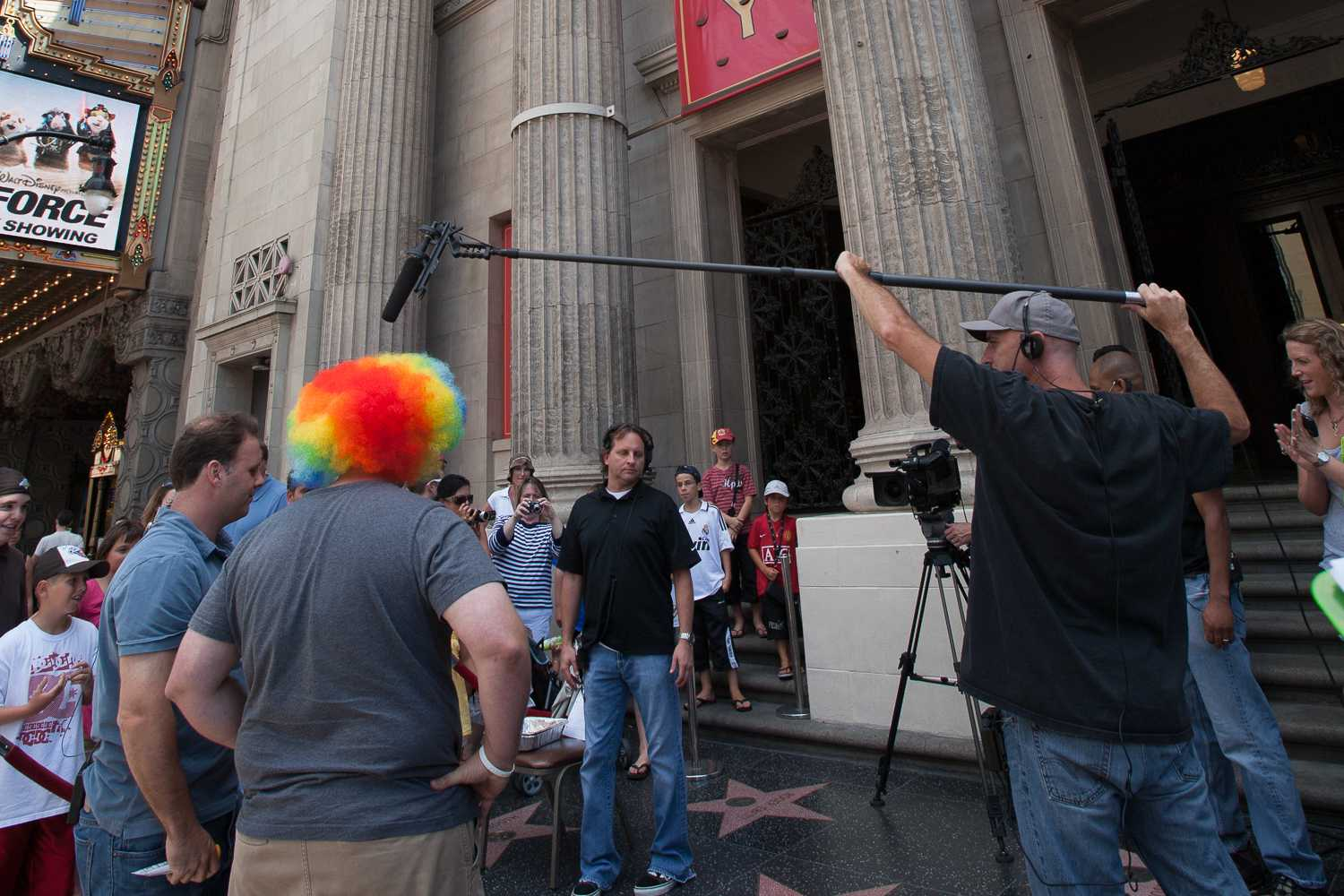 Cousin Sal taping a bit for the Jimmy Kimmel Live! show in front of the Disney Entertainment Center on Hollywood Blvd