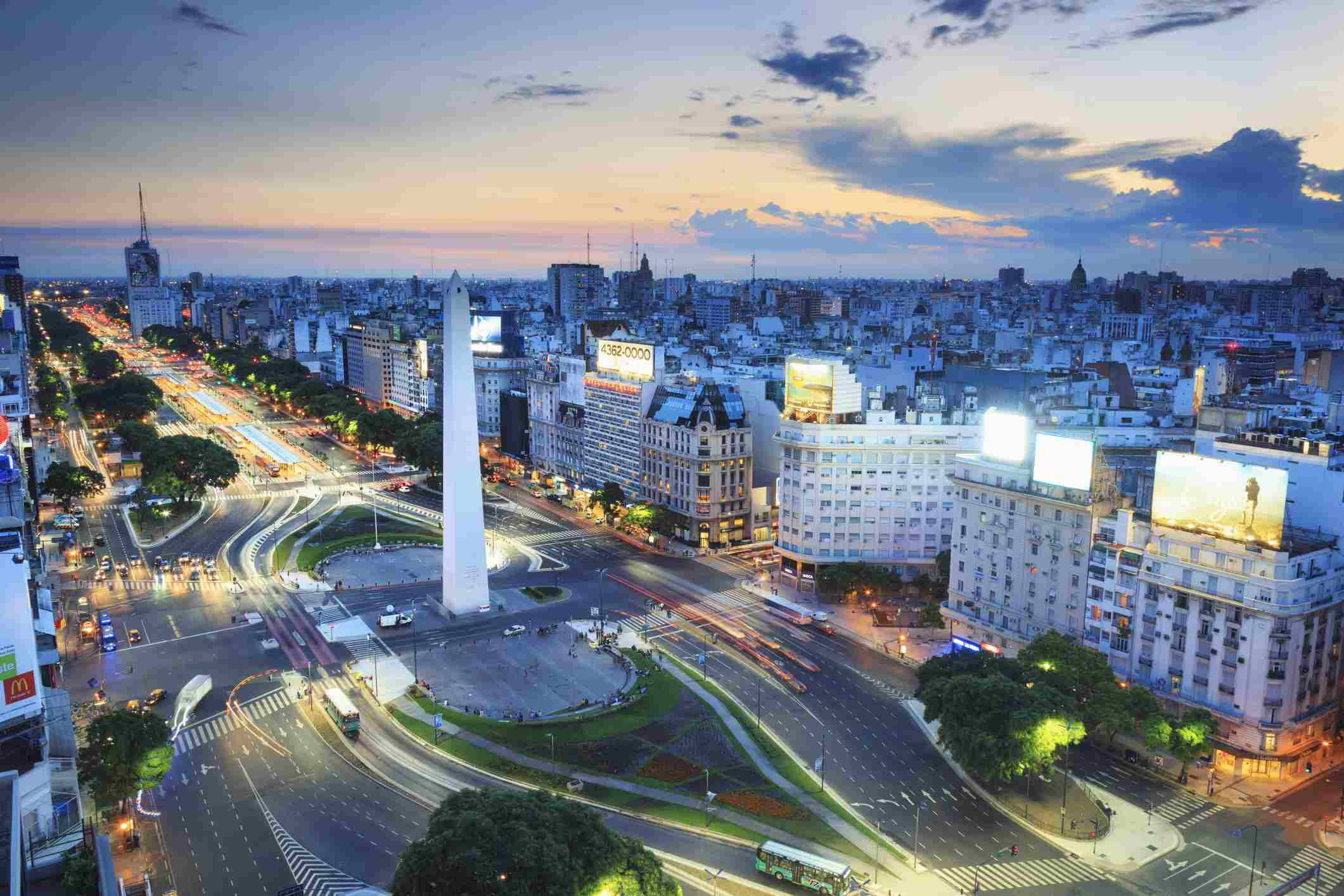 Argentina, Buenos Aires, Elevated view of Avenida 9 de Julio and Obelisk at sunset