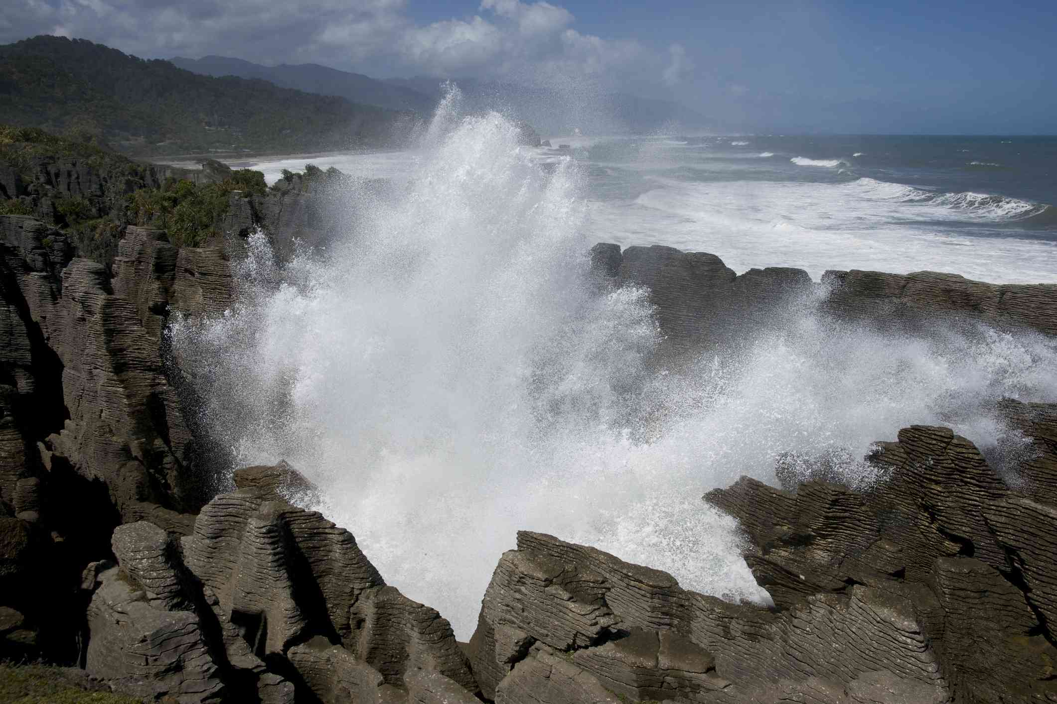 blowhole pushing water into the air with sea in background