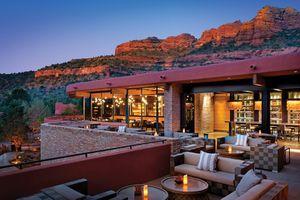 Patio in the evening at Enchantment Resort, Sedona, AZ