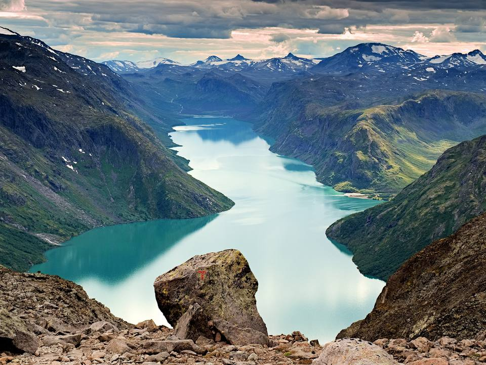 View from Besseggen at the Gjendevatnet lake in Jotunheimen Norway