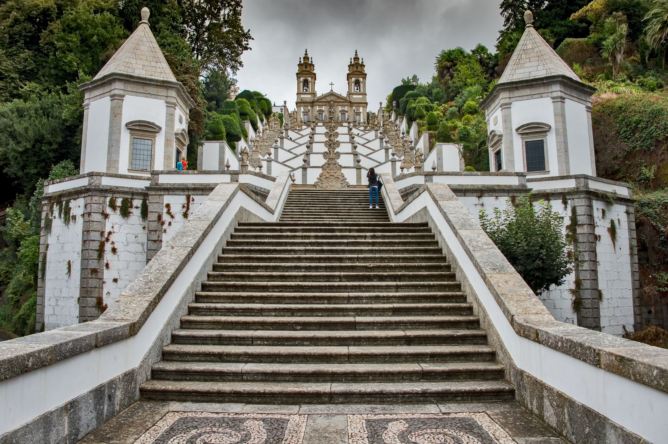 Person standing on the steps of the Bom Jesus do Monte