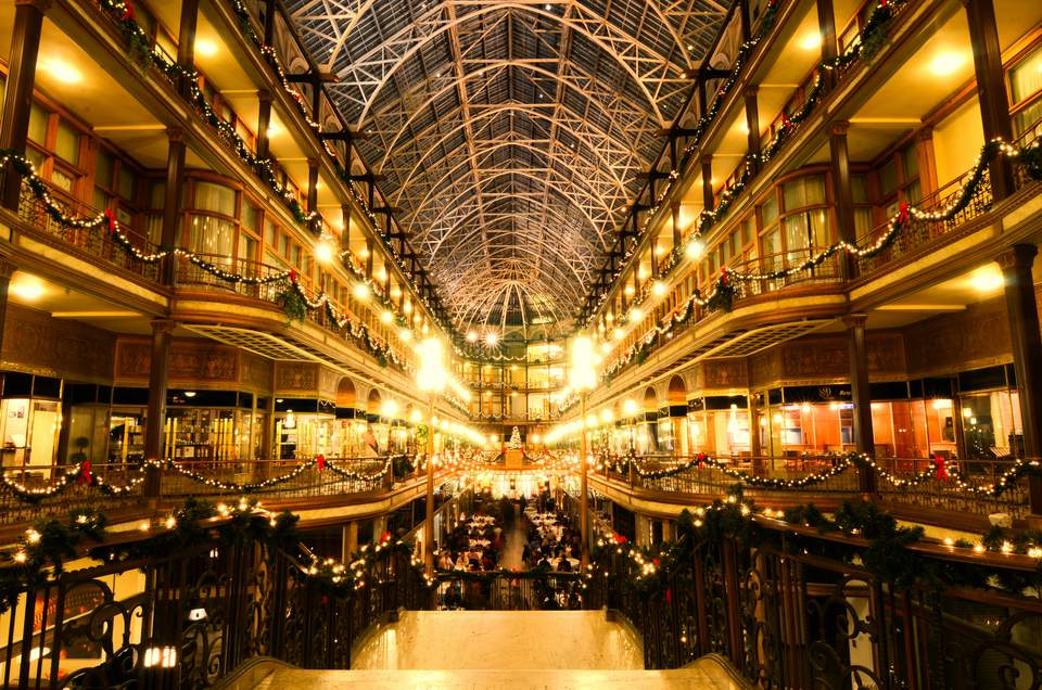 The Cleveland Arcade, decorated for Christmas