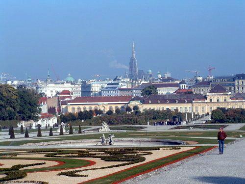 Palacio Belvedere - Palacio inferior y vista del casco antiguo de Viena