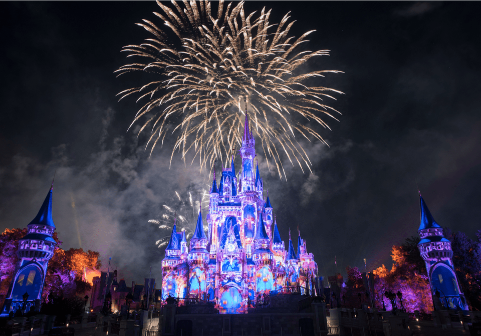 Fuegos artificiales felices para siempre en Magic Kingdom Disney World