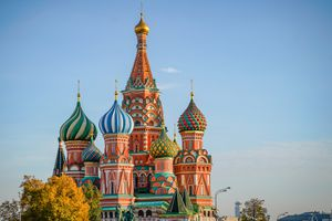 St. Basil's Cathedral in the Red Square of Moscow, Russia, during fall