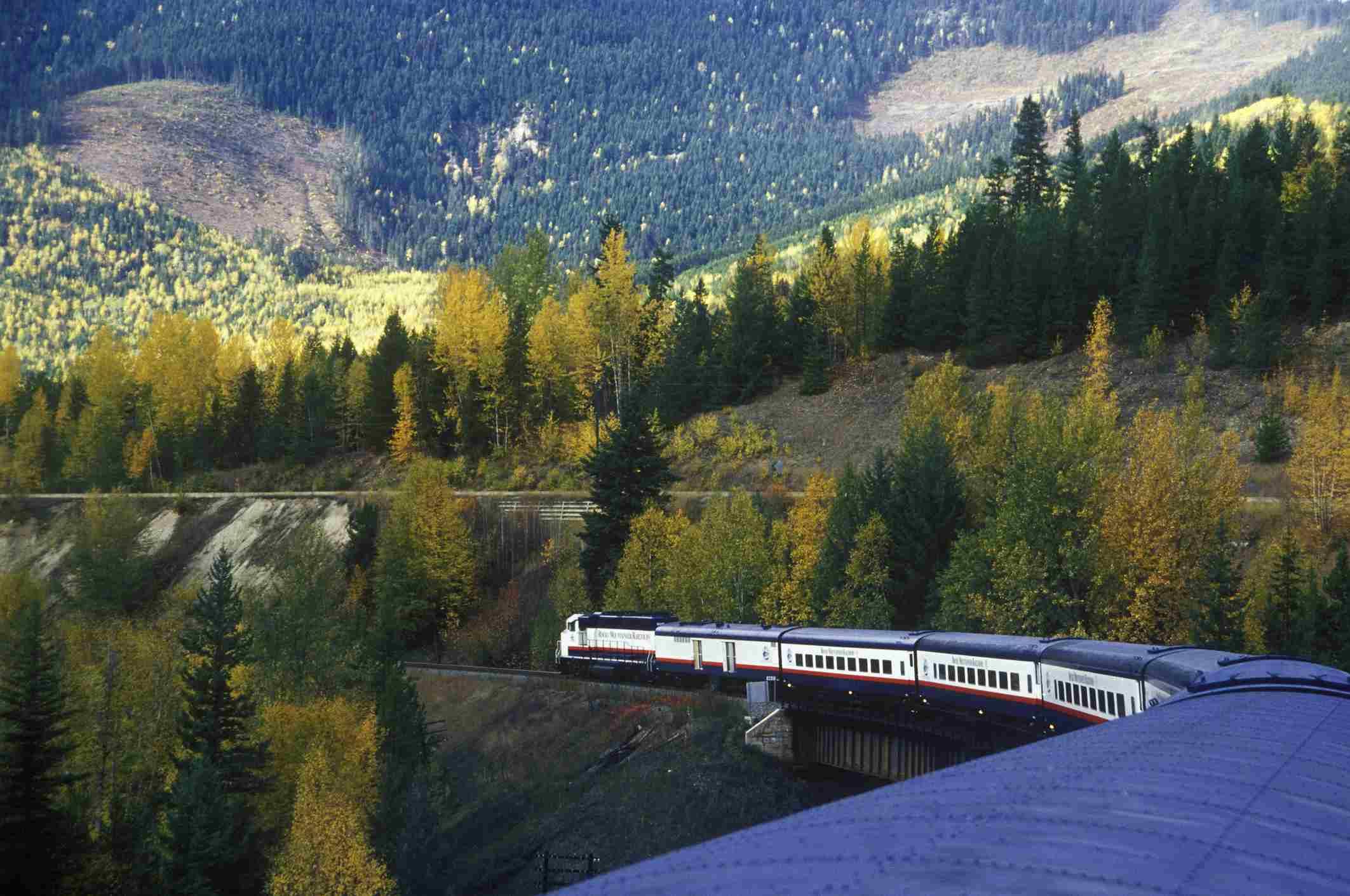 Rocky Mountain Rail Tour train, British Columbia, Canada.