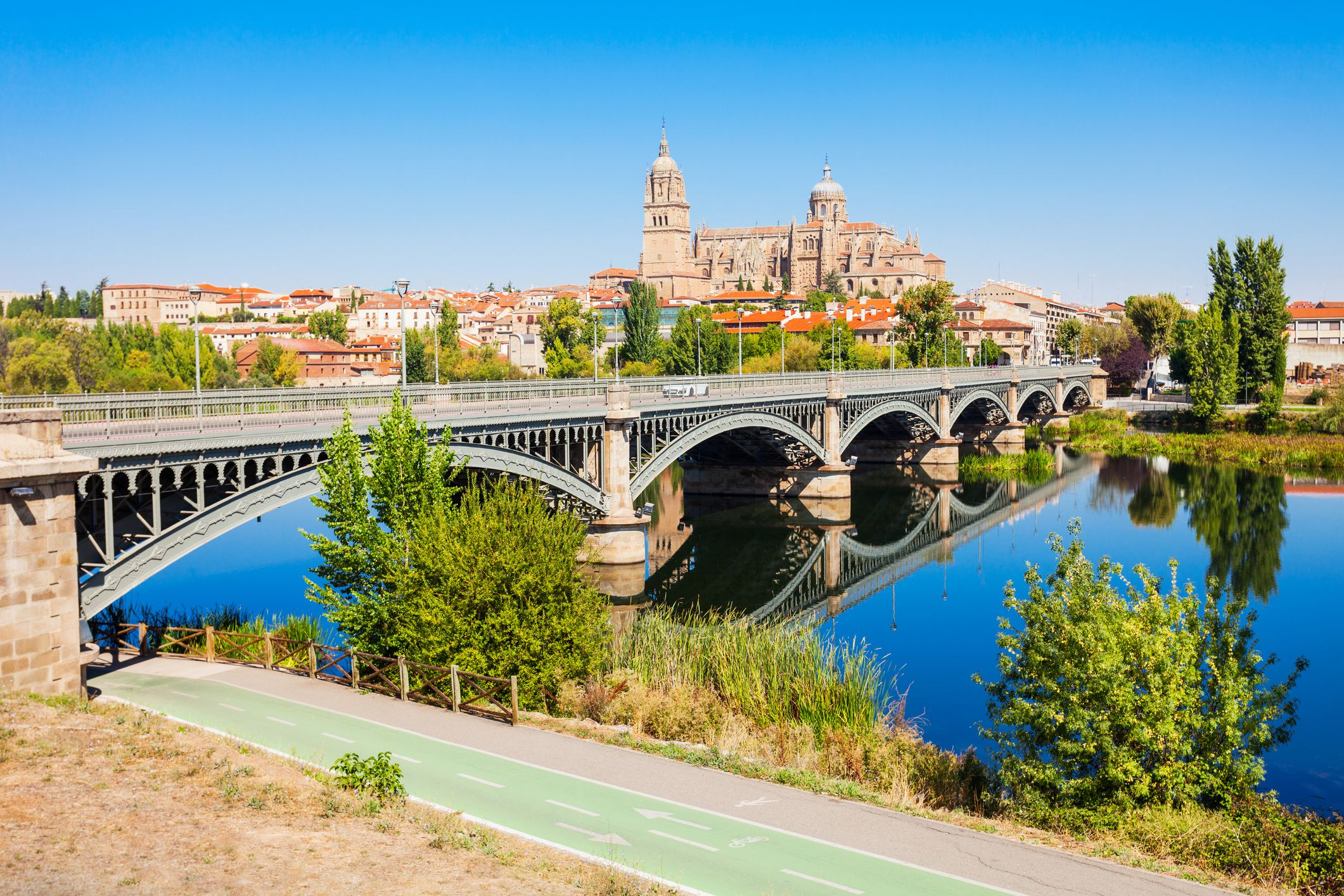 Salamanca Cathedral from a distance on a sunny day in Salamanca, Spain