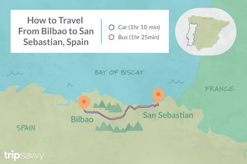 Bilbao On Map Of Spain.Bilbao To San Sebastian By Train Bus Car And Air