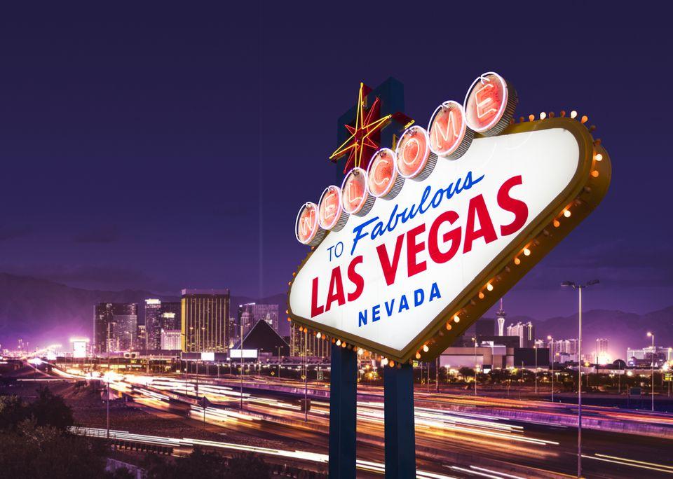 Una foto de archivo de la bienvenida a la fabulosa Las Vegas, signo de Nevada.