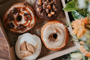 Open cardboard box with four specialty doughnuts with an out of focus plant on the right side of the screen
