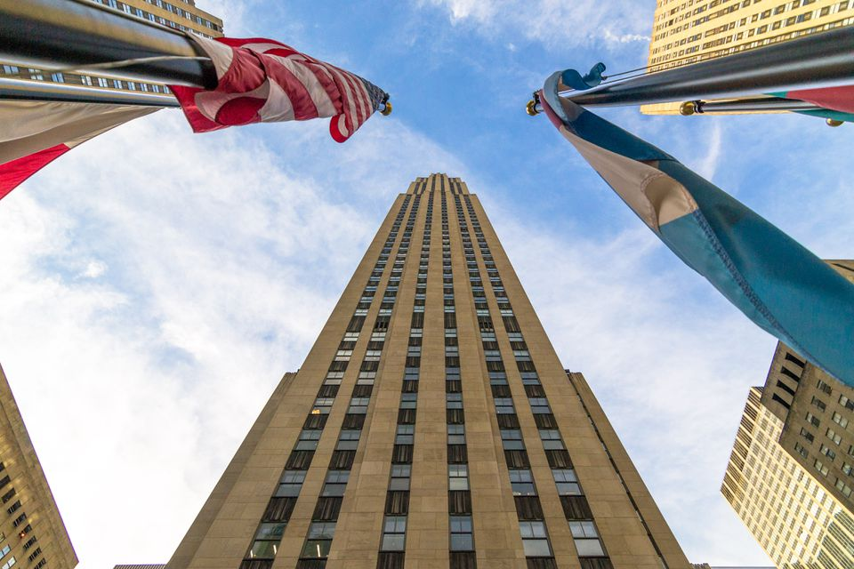 View looking up at the Rockefeller Center