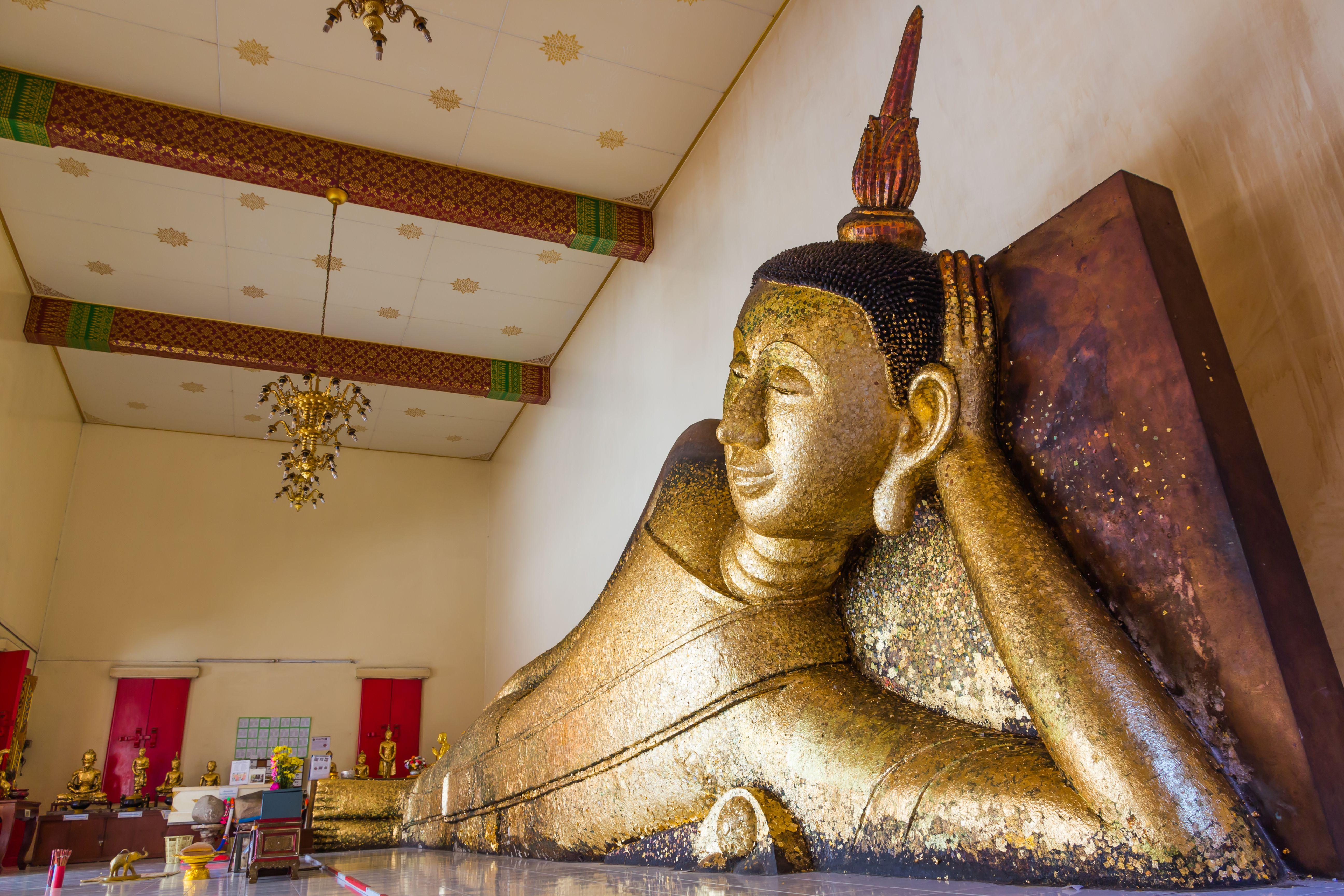 The reclining Buddha at Wat Pa Pradu in Rayong, Thailand
