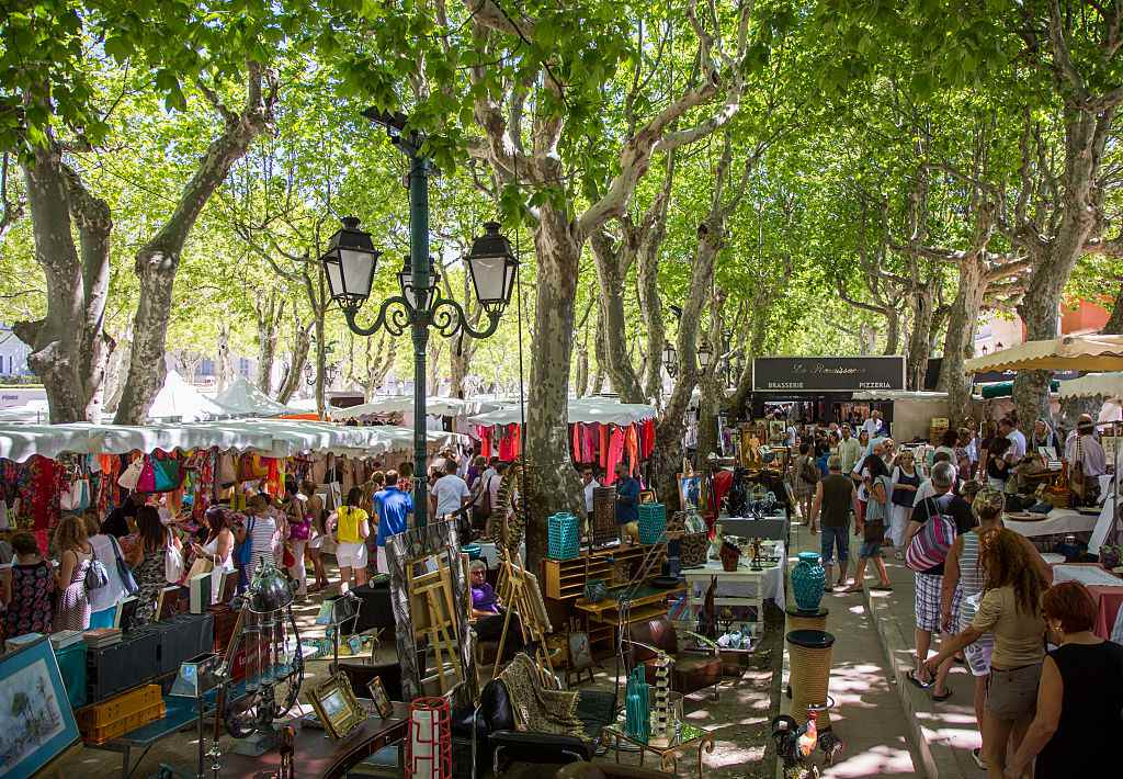 Place des Lices in the heart of St.-Tropez holds an open-air market weekly