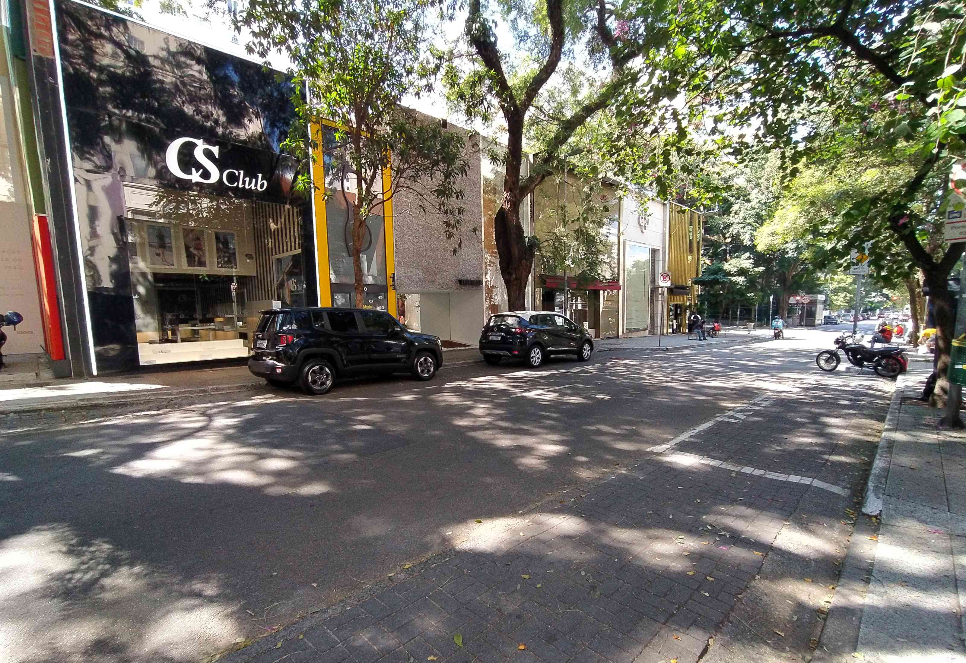 Oscar Freire street empty with closed shops on Jardins district.
