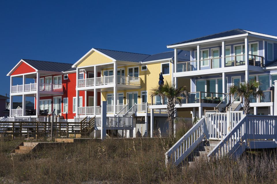 Beach houses at sunny day, Kure Beach, North Carolina, USA