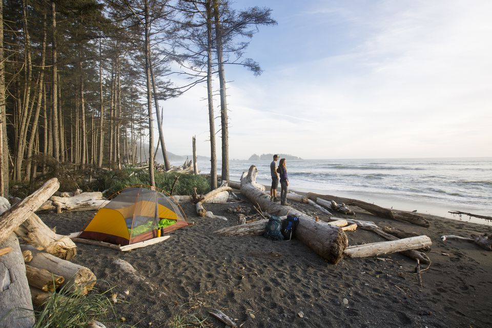 Backpacking and camping along a beach