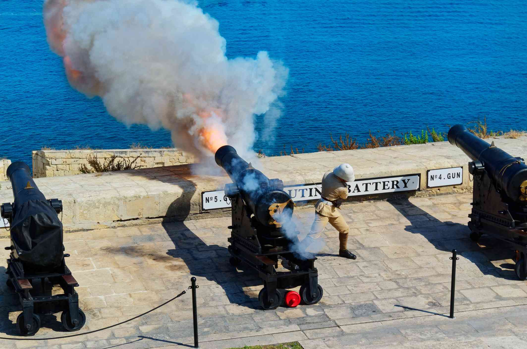 Noon gunfire at the Saluting Battery, part of the Malta at War Museum