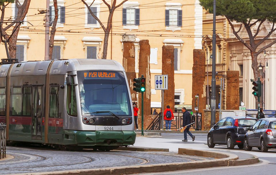 Line 8 tram moving in Rome