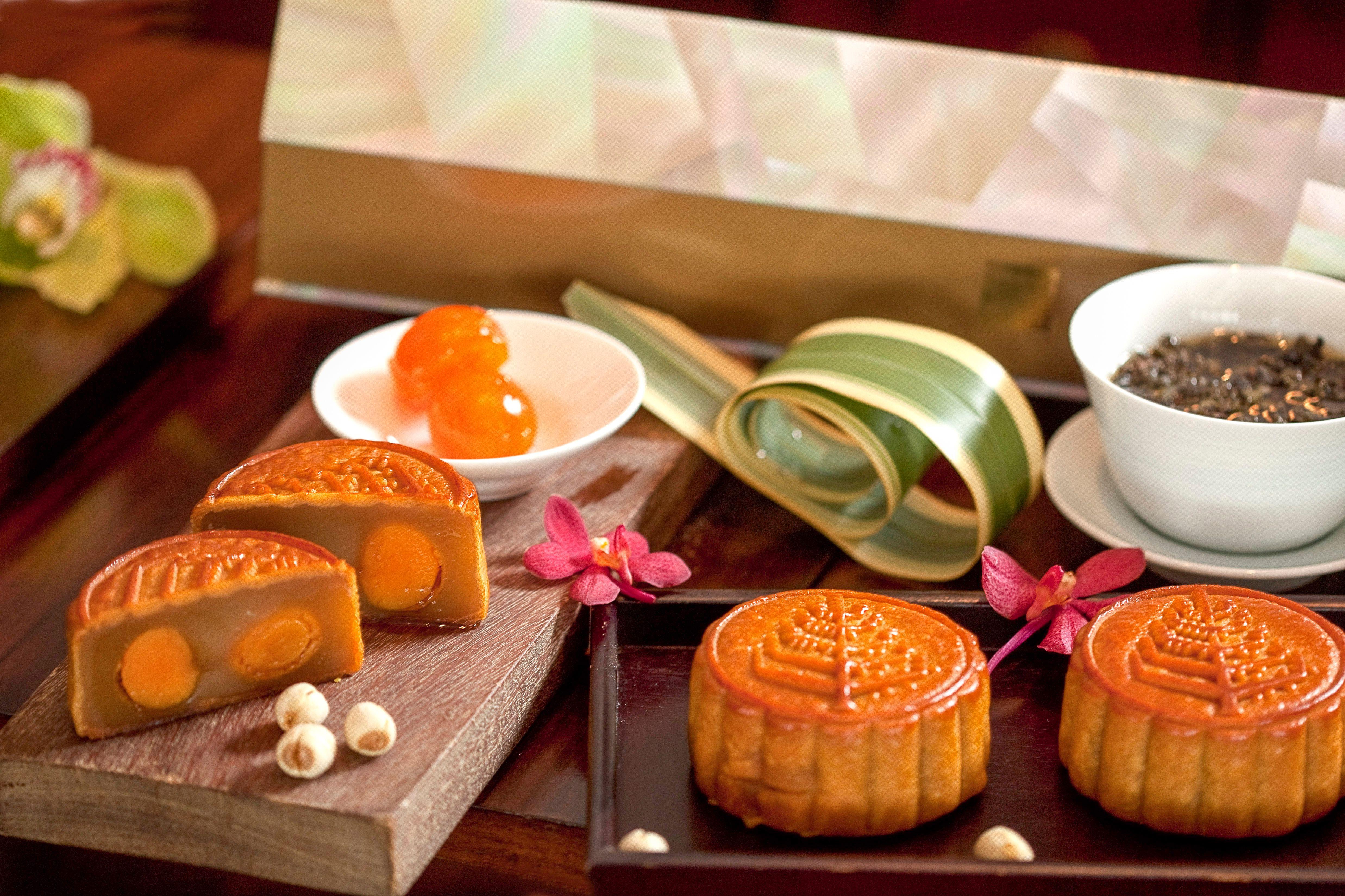 Mooncakes for the Mid-Autumn Festival in September.