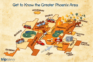 A map of Phoenix showing the outlines of the different neighborhoods and surrounding towns