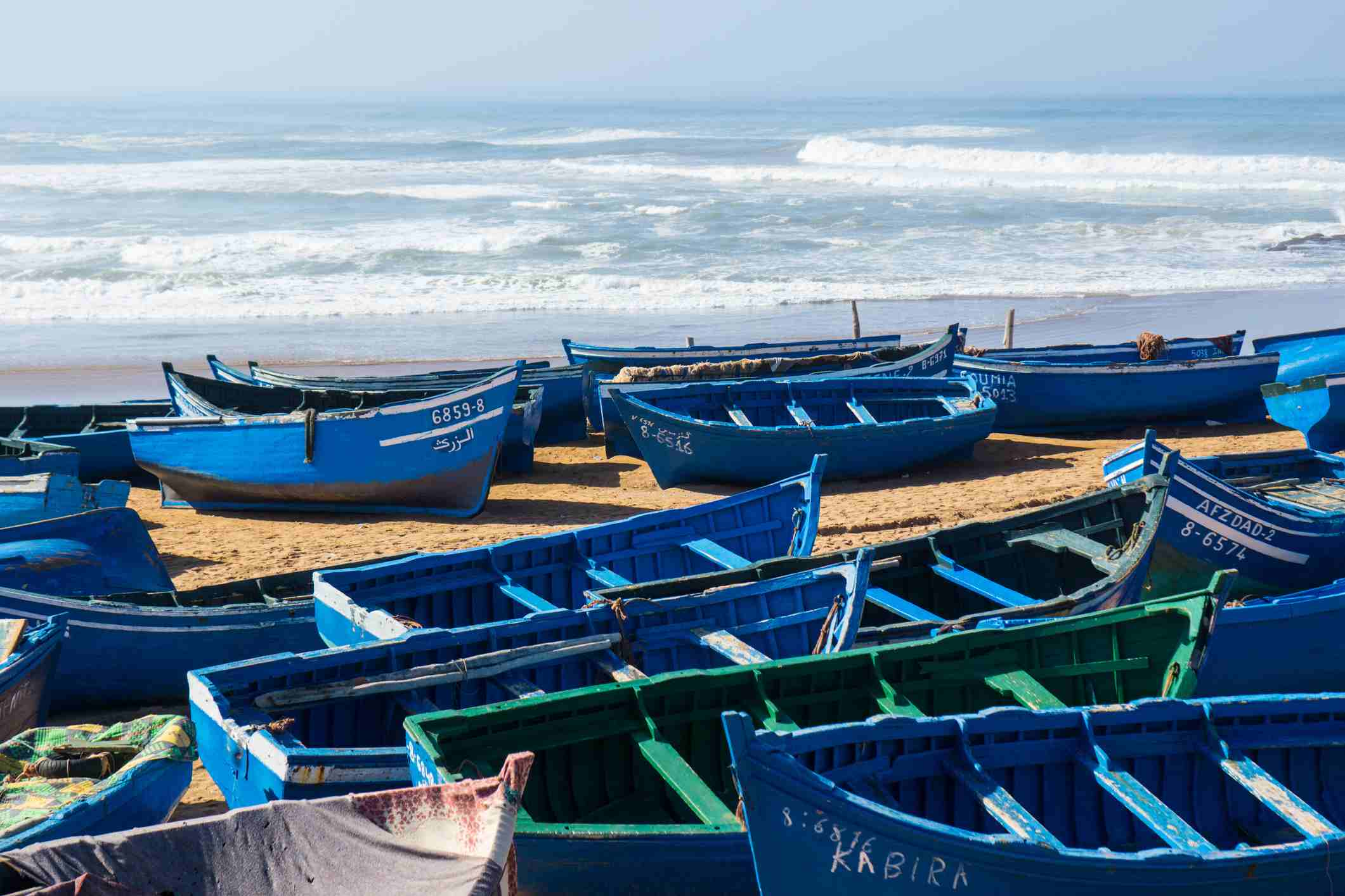 Traditional boats on a Moroccan beach