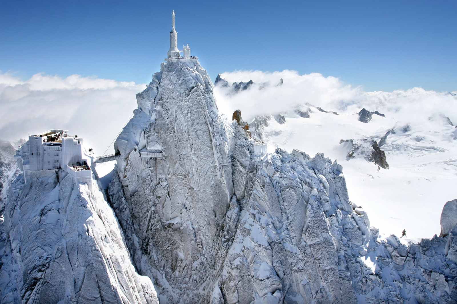 Aiguille du Midi in the snowy French Alps