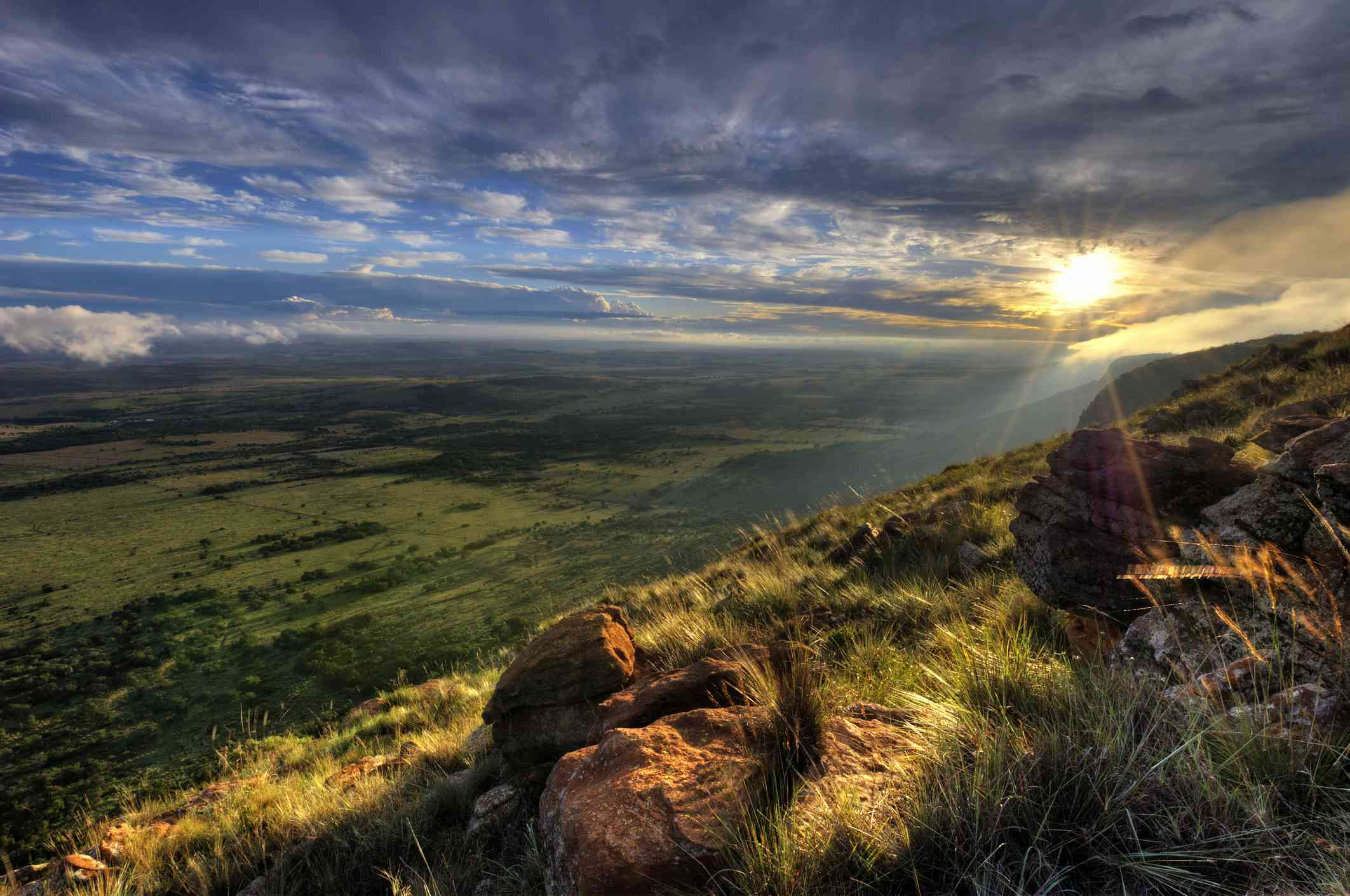 View over North West from Magaliesburg Mountains, South Africa
