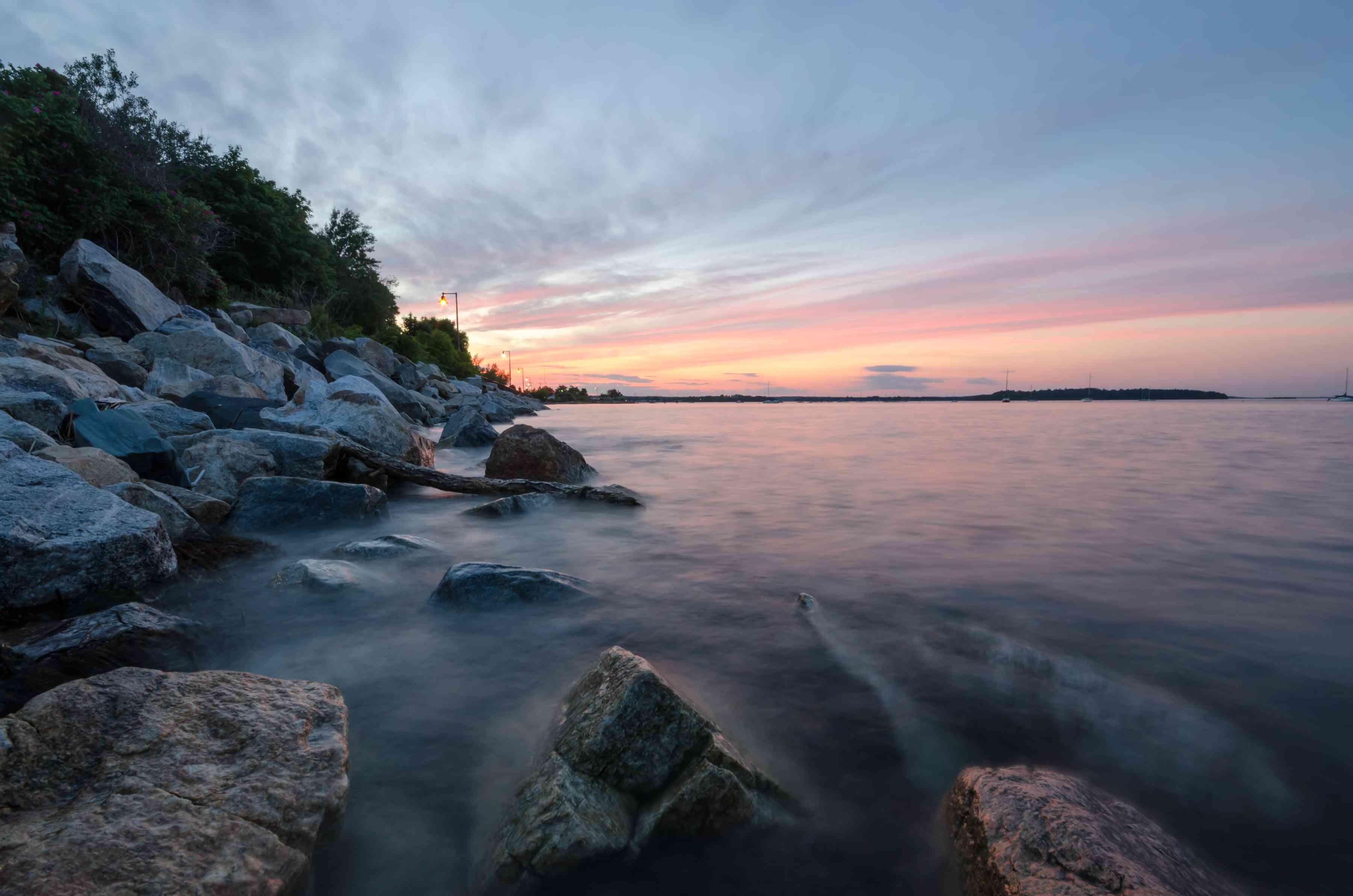 Rocky coast of Eastern Promenade in Portland, Maine