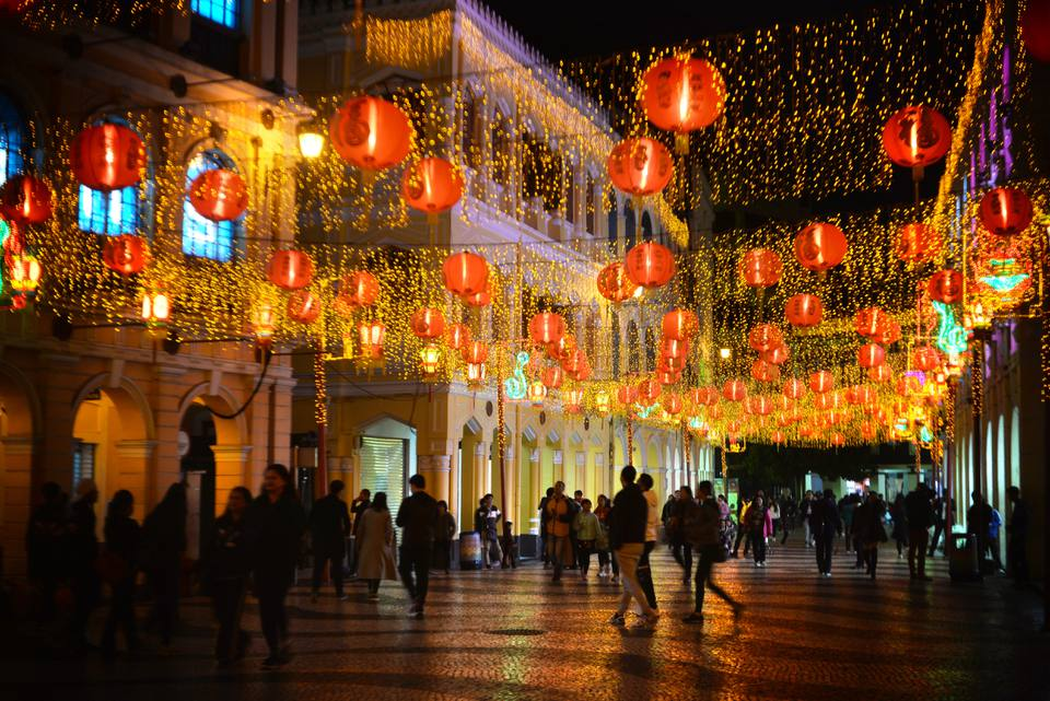 Chinese New Year decorations on a street in Macau