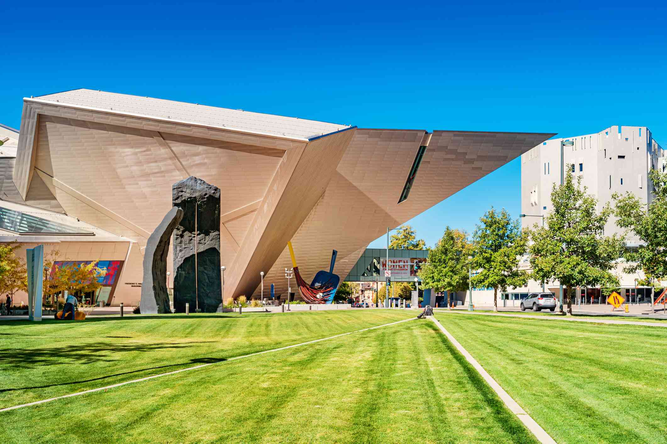 Lawn of the Denver Art Museum in downtown Denver, Colorado with sculptures on the lawn