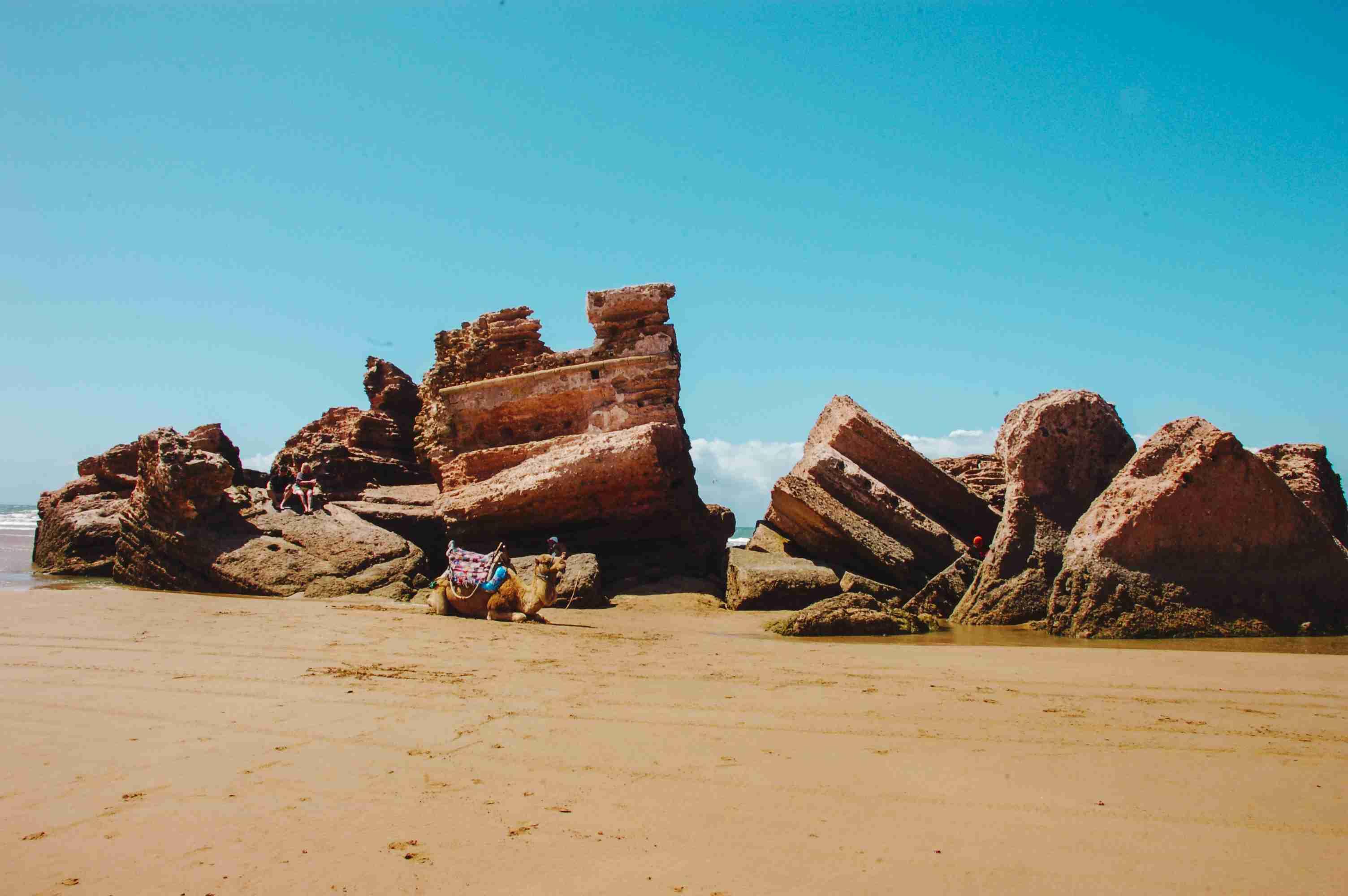 Crumbled ruins by the sea in Essaouira