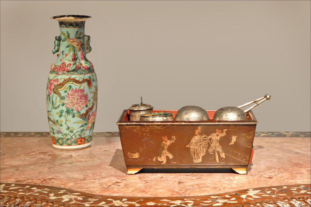 Box and vase, late 19th-century China, at a temporary exhibit at the Musee Quai Branly.