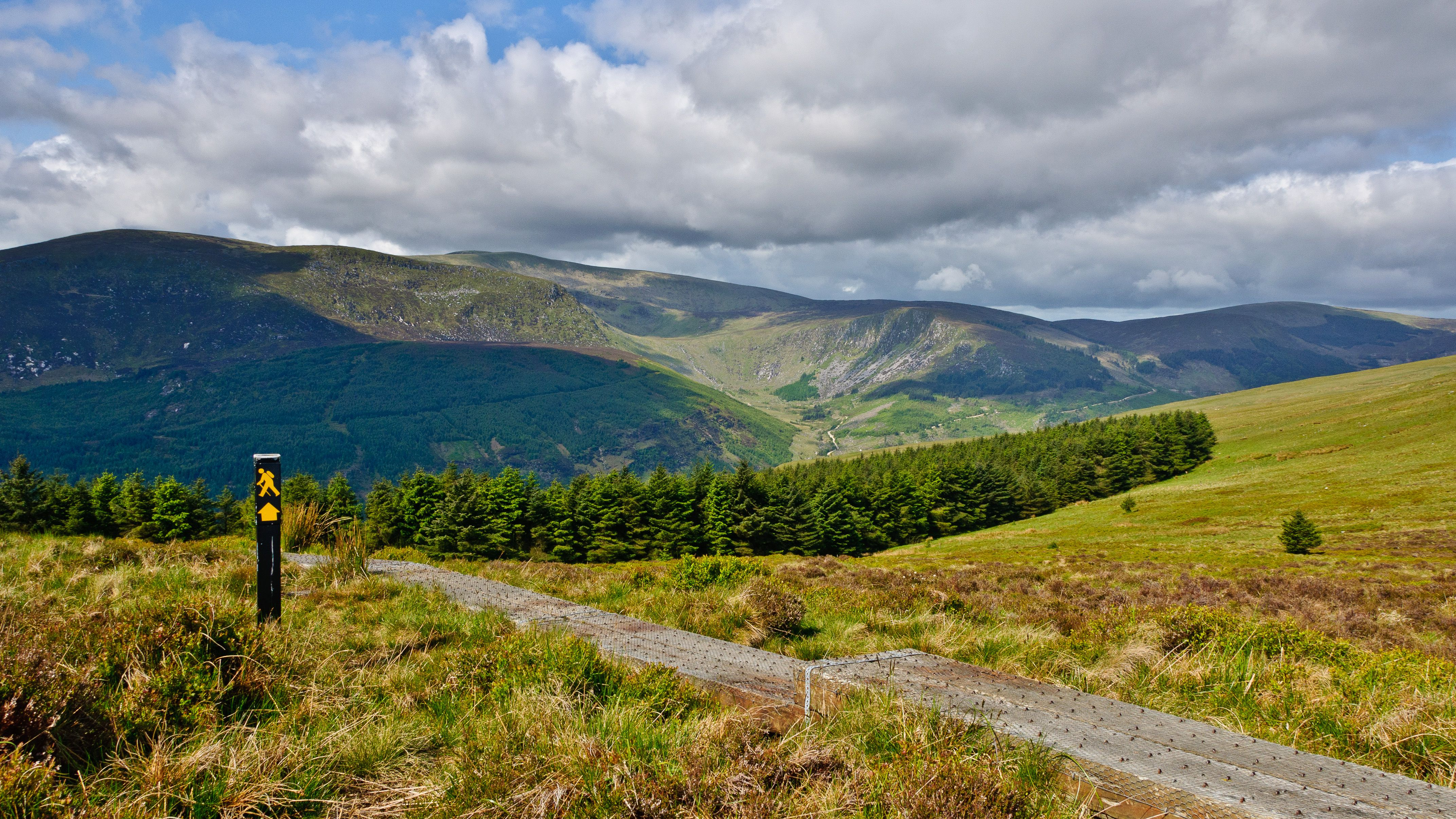 Green hills and a rocky stream on Lugnaquilla in Wicklow ireland